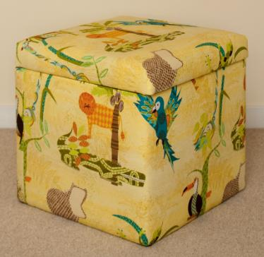 Toy Box in Jungle Jamboree Fabric By Perfect Headboards