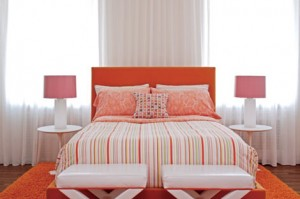 Decorating with Orange in a bedroom rug