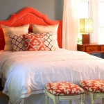 decorating with orange headboard