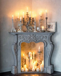 Add candles to an existing fireplace