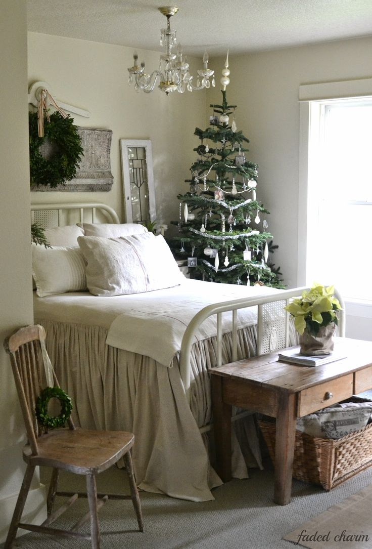 christmas bedroom from faded farm cottage