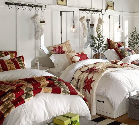 christmas bedroom from pottery barn