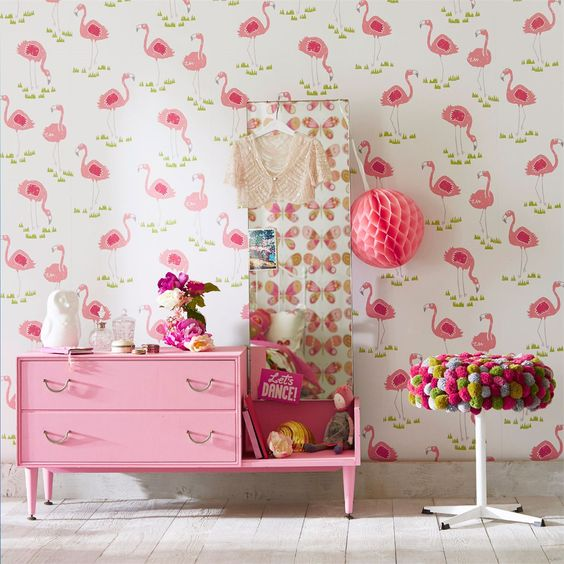 Felicity Flamingo €39.00  a Roll Available from Aspire Design and Perfect Headboards