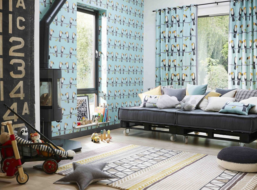 Terry Toucan @ €39.00 per roll Available from Aspire Design & Perfect Headboards Studio