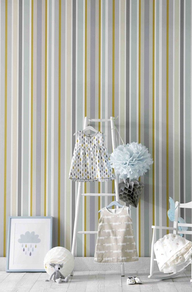 Jelly Tot Stripe @ €39.00 per roll Available from Aspire Design & Perfect Headboards Studio