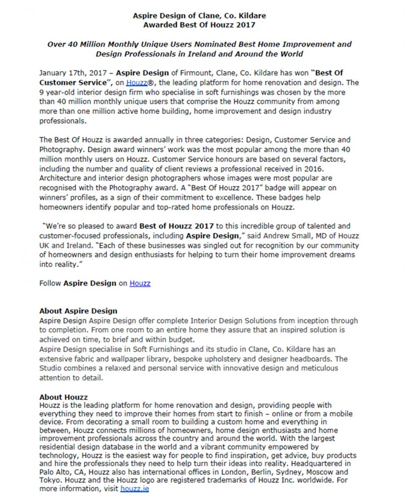 Press Release from Houzz