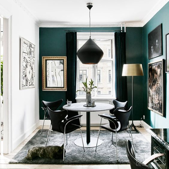 Green Dining Room from Elle Decor