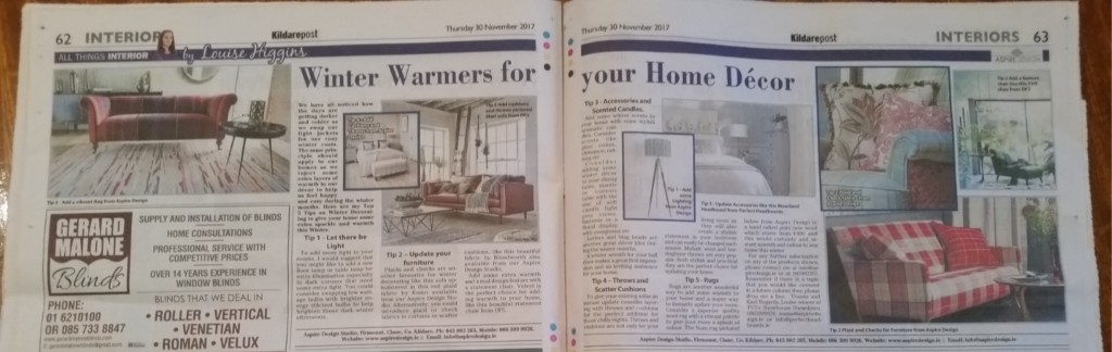My weekly Interiors Column in the Kildare Post