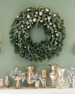 wreath with silver ornaments